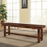 WE Furniture Solid Wood Dark Oak Bench