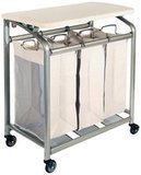 Seville Classics Mobile 3-Bag Heavy-Duty Laundry Hamper Sorter