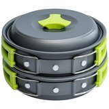 MalloMe Camping Cookware Mess Kit Backpacking Gear & Hiking Outdoors Bug Out Bag Cooking Equipment Cookset